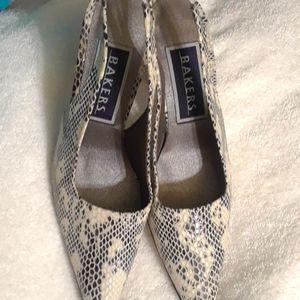 NWOT, Vintage leather snakeskin, slingback heels